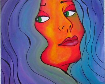 Original MisQue art | Acrylic painting 50x50cm longing
