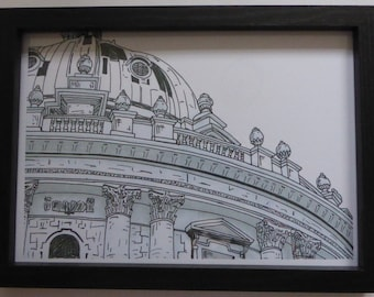 Print of original art in pen based on the architecture of Oxford.
