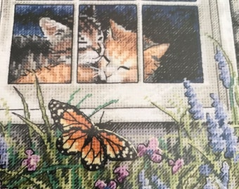 The Gold Collection Petites Feline Love counted cross stitch kit