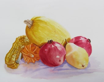 Fall Fruit still life original watercolor painting 11x15 red yellow orange