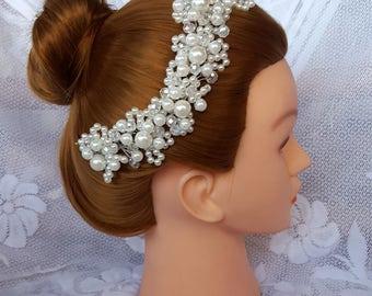 Stunning Pearl and Rhinestone Wedding Headpiece, Wedding Hair piece, Crystal Rhinestone Pearl Headband, Bridal Headpiece, Flower Girl