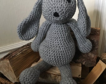 Crochet animal rabbit grey handmade