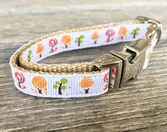 Happy Little Trees Teacup Dog Collar, White Teacup Dog Collar, Extra Small Dog Collar, Tree Dog Collar