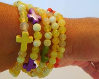 5 pc colorful yellow stone stretch bracelets side ways natural stone crosses Religious Jewelry Cross Bracelet Set
