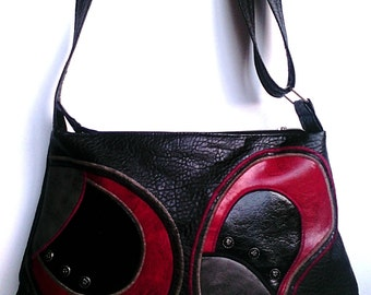 Faux leather shoulder bag, Black-red-gray handbag, Black crossbody bag, Messenger vegan bag with decorative rivets, red and gray decorations