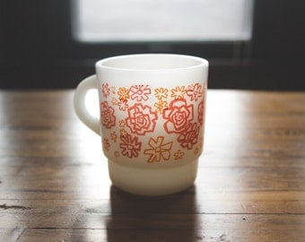 Fire King Red Floral Mug