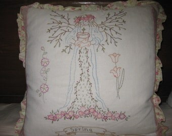 Hand Embroidered Spring Angel Pillow