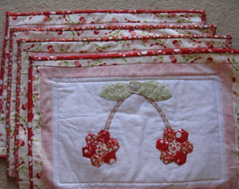 Cherries Appliqued and Quilted Placemats