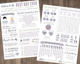 Funny Infographic Wedding Program Our Love Story Games Activities Word Search