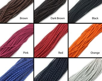 Braided Faux Leather Cord 3mm One Yard+