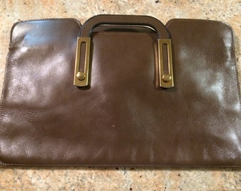 Vintage Letisse Brown Handbag or Briefcase-unique sliding handled purse
