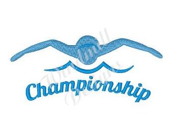 Swimming Championship - Machine Embroidery Design