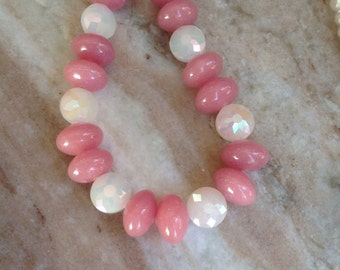 Rose and white beaded necklace