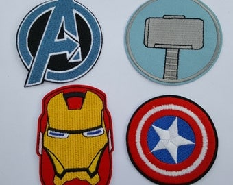 Iron Man Avengers Thor Captain America Iron On Sew on Patch transfer (4 patches)