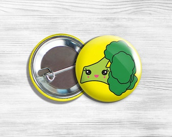 Kawaii Broccoli Vegan/Vegetarian Pinback Button Pin 1.75""