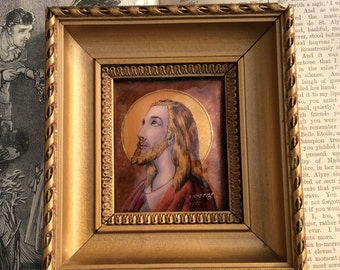 Beautiful Limoges Signed Enamel Picture of Christ by P. Bonnet.