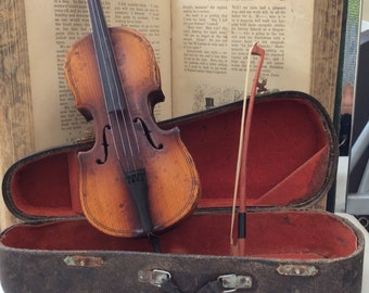 Beautiful Boxed Miniature Artisan Cello/Double Bass.
