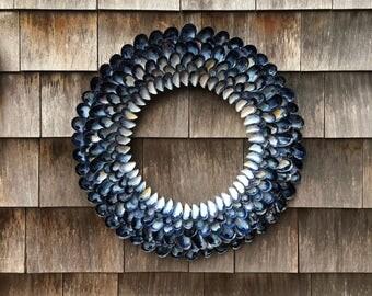 Nautical Wreath - Beach Wreath - Mussel Wreath 22inch - Seashell Wreath - Front Door Wreath - Beach Decor - Outdoor Wreath - Coastal Decor