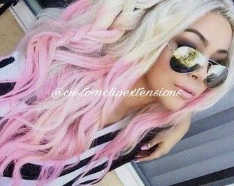 Balayage Platinum Blonde and Pink Pastel  Clip Hair Extensions : Blonde Clip In Hair Extensions, Blonde Hair Extensions, Blonde Hair, Custom