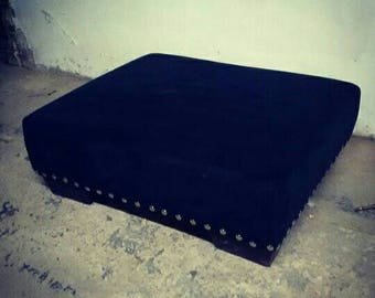 Large footstool Newly upholstered in black velvet with silver studding