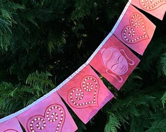 Buddha Hand painted Prayer Flags Om Meditation Spiritual Garden Art Yoga Namaste Zen garden