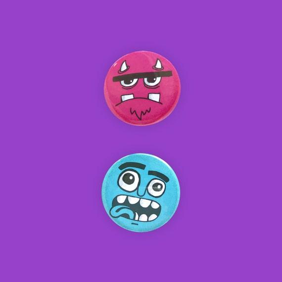 Grumpy Monster Face Pinback Buttons