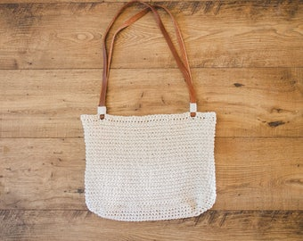 Crochet Cream Bag with leather straps