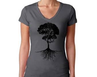 Bonzi Tree with Roots women's v-neck t-shirt shirt clothing Bonzi Bonsai Nature Gardening