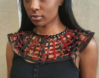 Extra Small Laced Ankara bib Statement necklace