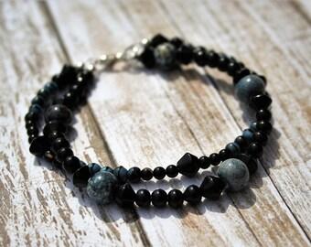 Two Strand Black Beaded Bracelet, Black Jewelry, Silver Multistrand Bracelet, Beaded Bracelet, Blue Beaded Jewelry, Black Beaded Bracelet