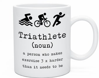 Triathlete Tea Coffee Mug. Triathlon Tea Coffee Mug. Triathlon Gift Idea. Triathlete Birthday Gift Idea. Keep Fit Sports Athlete Mug Him Her