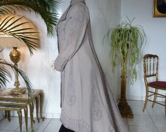 Elegant Wool Coat, antique dress, antique gown, Edwardian Coat, England, ca. 1906