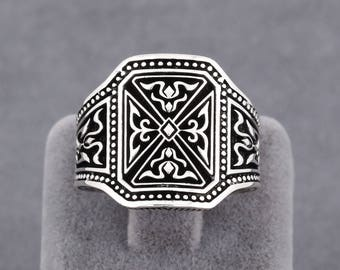 Temple Knight Theme 925 Sterling Silver Handmade Men's Ring Jewelry Size 7 - 12