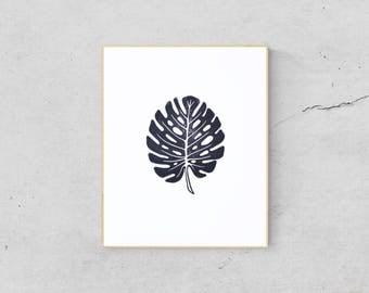 Monstera Art Print - Tropical Leaf Print - Palm Leaf Art Print - Monstera Leaf Print - Palm Leaf Print - Monstera Wall Art - Linocut Print