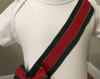 Ribbon sewn onesie