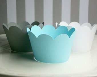 NEW! Pretty Blue,Gray &White Cupcake Wrappers- birthday party decor,baby showers,weddings,parties- (Set of 12+) Wrap your cupcakes in style!