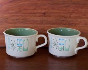 Atomic, Retro Coffee Cups, Taylor Cathay Taylorstone Pattern, Set of 2