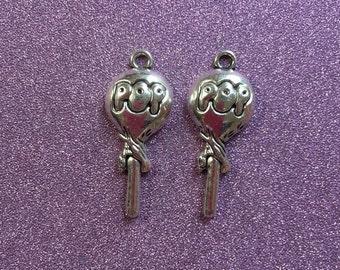 2 Tibetan Silvertone Lolly Pop Charms