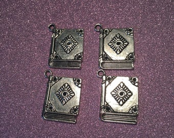 4 Very Cute Antique Silver Book Charms