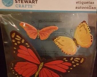 E25 - Martha Stewart Crafts - Butterfly Stickers - 3 Piece