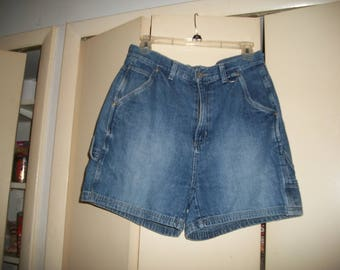 Womens Vintage 90s Denim HIgh Waist Carpenter Shorts size 10