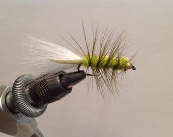 Fly Fishing Flies,  White, Chartreuse, and Olive Wooly Buggers (3)