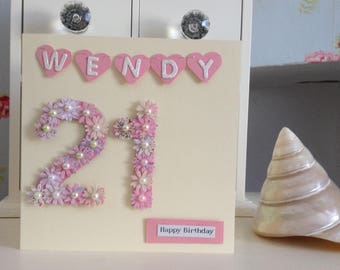 Pretty Personalised Birthday Card with name in bunting and age