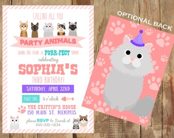 Kitten Party Invitation - Personalized Printable - Cat Party - Purr-fect Party