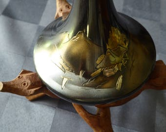 Vintage Bronze Inlaid Bud Vase - Japan