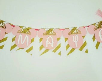 Pink and Gold Princess Minnie Mouse Banner