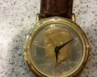 1995 Men's President John F Kennedy Silver Half-Dollar Coin Watch