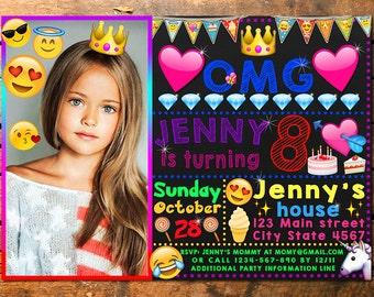Emoji Birthday Invitation, Emoji Invitation, Emoji Invite