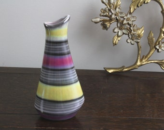 50s Vintage Hungarian Art Pottery Iridescent Striped Vase with Eosin Glaze by H.T.Sz 14.21