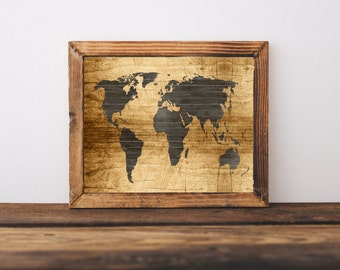 World Map Print - Printable World Map, Vintage World Map, Distressed Wood World Map, World Map Poster, Wooden Map, Digital World Map